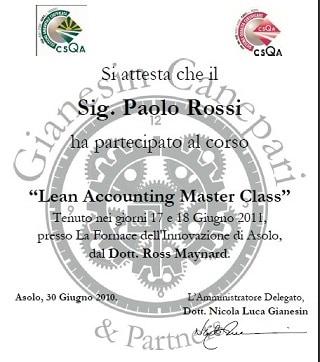 L'unico e originale Lean Accounting master class in Italia